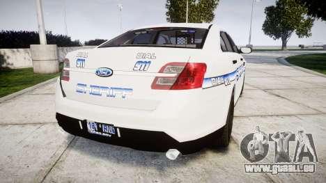 Ford Taurus 2014 [ELS] Liberty County Sheriff pour GTA 4 Vue arrière de la gauche