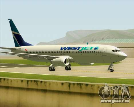 Boeing 737-800 WestJet Airlines pour GTA San Andreas vue de côté