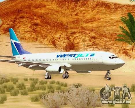 Boeing 737-800 WestJet Airlines pour GTA San Andreas laissé vue