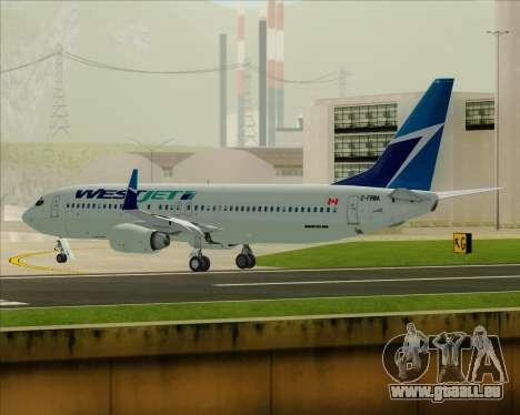 Boeing 737-800 WestJet Airlines für GTA San Andreas Unteransicht