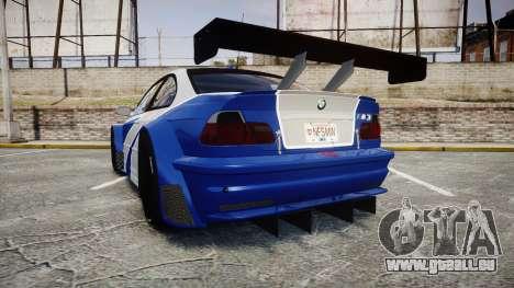 BMW M3 E46 GTR Most Wanted plate NFS MW pour GTA 4 Vue arrière de la gauche
