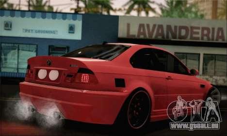BMW M3 Coupe Tuned Version Burnout für GTA San Andreas linke Ansicht