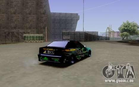 BMW M3 E36 Gorilla Energy Team pour GTA San Andreas sur la vue arrière gauche