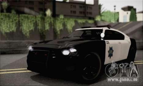 Bravado Buffalo S Police Edition (HQLM) für GTA San Andreas zurück linke Ansicht