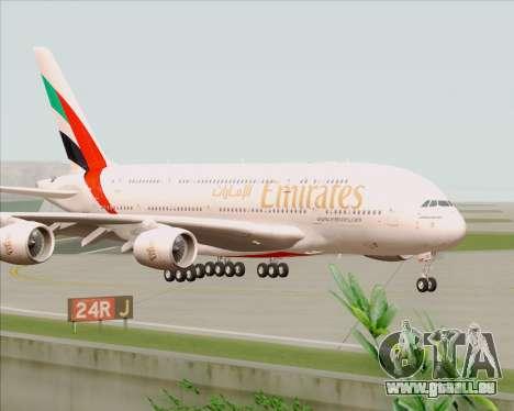 Airbus A380-800 Emirates 40 Anniversary Sticker pour GTA San Andreas sur la vue arrière gauche