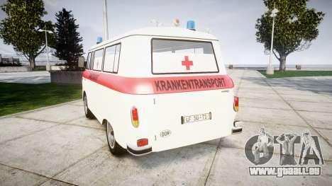 Barkas B1000 1961 Ambulance pour GTA 4 Vue arrière de la gauche
