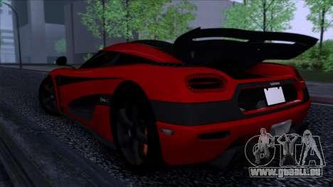 Koenigsegg One:1 2014 pour GTA San Andreas sur la vue arrière gauche