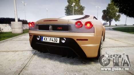 Ferrari F430 Scuderia 2007 plate F430 für GTA 4 hinten links Ansicht