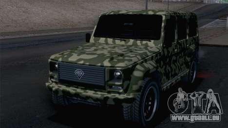 GTA 5 Benefactor Dubsta pour GTA San Andreas vue arrière