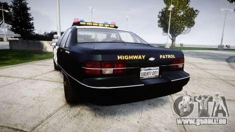 Chevrolet Caprice 1991 Highway Patrol [ELS] pour GTA 4 Vue arrière de la gauche