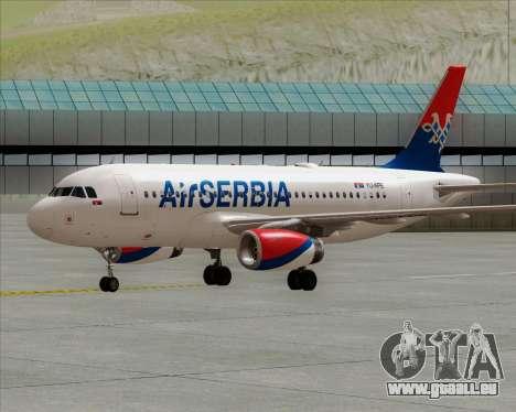 Airbus A319-100 Air Serbia pour GTA San Andreas sur la vue arrière gauche