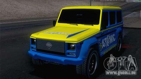 GTA 5 Benefactor Dubsta pour GTA San Andreas sur la vue arrière gauche