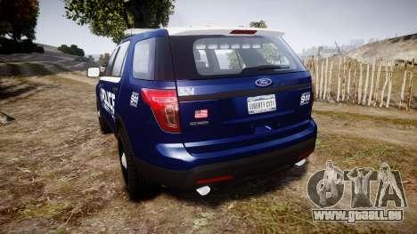 Ford Explorer 2013 LCPD [ELS] v1.0L pour GTA 4 Vue arrière de la gauche