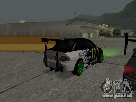 Mitsubishi Lancer Evo 9 Monster Energy für GTA San Andreas rechten Ansicht