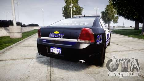 Chevrolet Caprice 2012 Sheriff [ELS] v1.1 pour GTA 4 Vue arrière de la gauche
