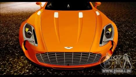 Aston Martin One-77 Black für GTA San Andreas zurück linke Ansicht