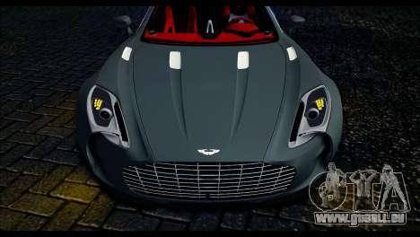 Aston Martin One-77 Red and Black für GTA San Andreas zurück linke Ansicht