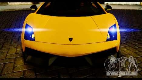 Lamborghini Gallardo LP 570-4 pour GTA San Andreas sur la vue arrière gauche