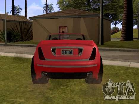 Cognoscenti Cabrio pour GTA San Andreas sur la vue arrière gauche