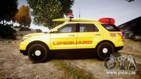 Ford Explorer 2013 Lifeguard Beach [ELS] für GTA 4 linke Ansicht