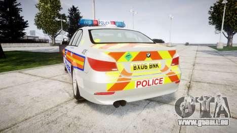 BMW 525d E60 2006 Police [ELS] pour GTA 4 Vue arrière de la gauche