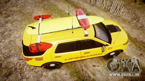 Ford Explorer 2013 Lifeguard Beach [ELS] für GTA 4 rechte Ansicht
