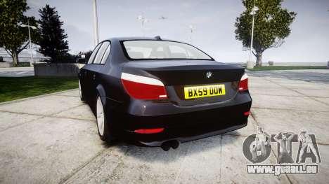 BMW 525d E60 2009 Police [ELS] Unmarked pour GTA 4 Vue arrière de la gauche