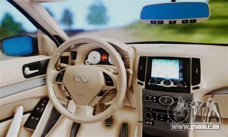 Infiniti G37 pour GTA San Andreas sur la vue arrière gauche