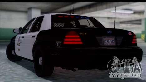 LAPD Ford Crown Victoria Slicktop pour GTA San Andreas laissé vue