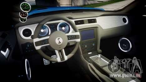 Ford Mustang Shelby GT500 2013 Sharpie pour GTA 4 est une vue de l'intérieur