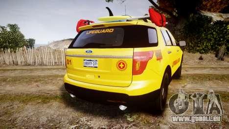 Ford Explorer 2013 Lifeguard Beach [ELS] für GTA 4 hinten links Ansicht