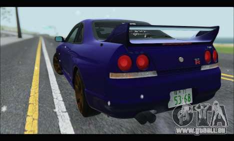 Nissan Skyline R33 pour GTA San Andreas sur la vue arrière gauche