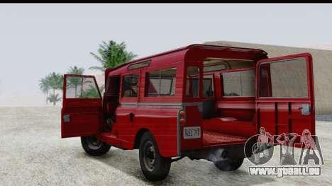 Land Rover Series IIa LWB Wagon 1962-1971 pour GTA San Andreas vue intérieure