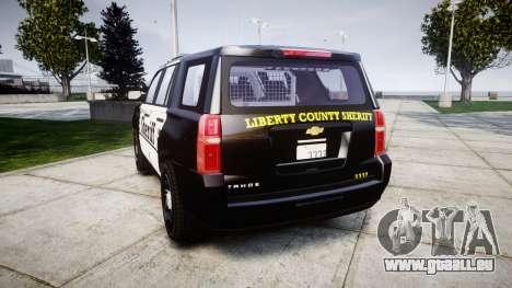 Chevrolet Tahoe 2015 County Sheriff [ELS] für GTA 4 hinten links Ansicht