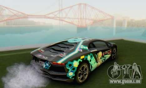 Itasha PJ from Lamborghini Aventador LP700-4 pour GTA San Andreas laissé vue