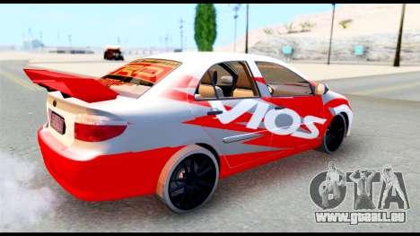 Toyota Vios TRD Racing für GTA San Andreas rechten Ansicht