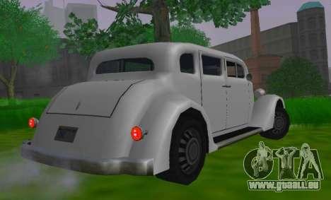 Hustler Limousine pour GTA San Andreas sur la vue arrière gauche