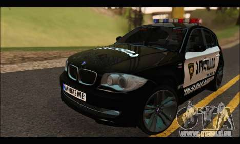 BMW 120i GEO Police pour GTA San Andreas