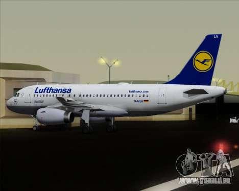 Airbus A319-100 Lufthansa für GTA San Andreas Unteransicht