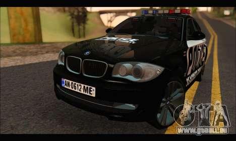 BMW 120i USA Police pour GTA San Andreas