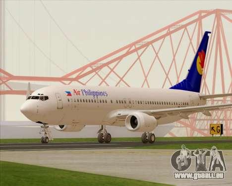 Boeing 737-800 Air Philippines für GTA San Andreas zurück linke Ansicht