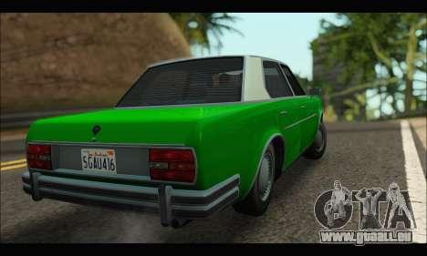 Benefactor Glendale (GTA V) pour GTA San Andreas sur la vue arrière gauche