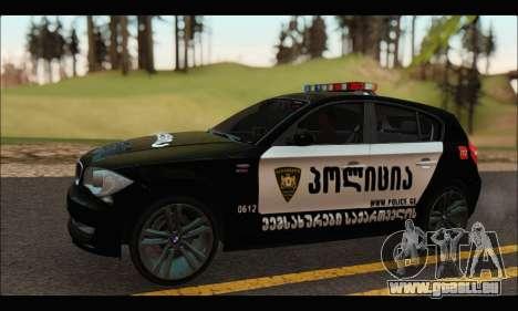 BMW 120i GEO Police pour GTA San Andreas laissé vue