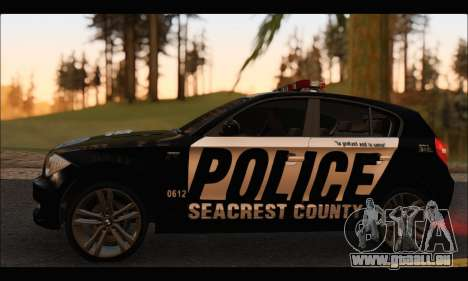 BMW 120i USA Police pour GTA San Andreas sur la vue arrière gauche