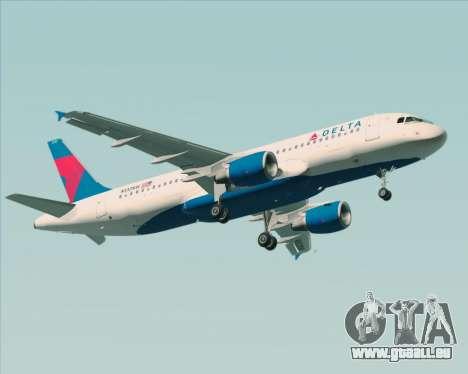 Airbus  A320-200 Delta Airlines pour GTA San Andreas sur la vue arrière gauche