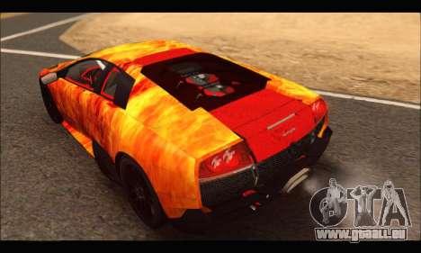 Lamborghini Murcielago In Flames für GTA San Andreas rechten Ansicht