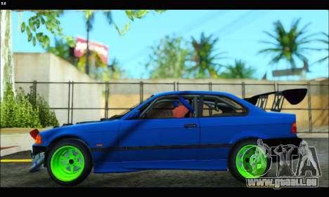 BMW e36 Drift Edition Final Version pour GTA San Andreas sur la vue arrière gauche