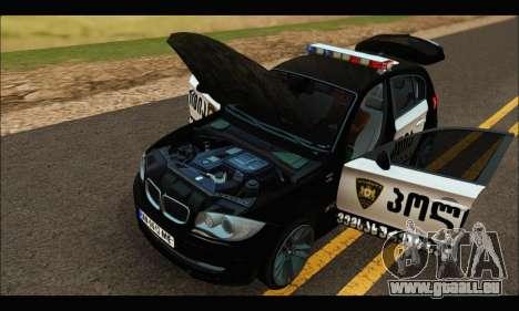 BMW 120i GEO Police pour GTA San Andreas vue intérieure