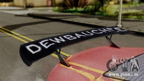 GTA 5 Dewbauchee Massacro Racecar (IVF) pour GTA San Andreas sur la vue arrière gauche