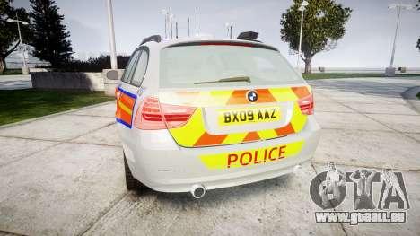BMW 325d E91 2009 Metropolitan Police [ELS] pour GTA 4 Vue arrière de la gauche